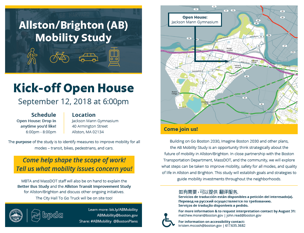 AB Mobility Study Kick-off Open House Flyer